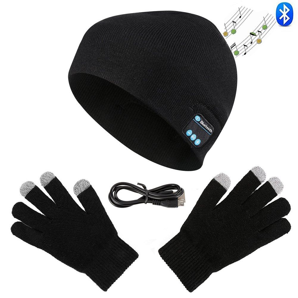 Zonman Wireless Bluetooth Hat Headphones+Free Touchscreen Gloves for Fitness Outdoor Sports Walking Christmas Gifts (Black)