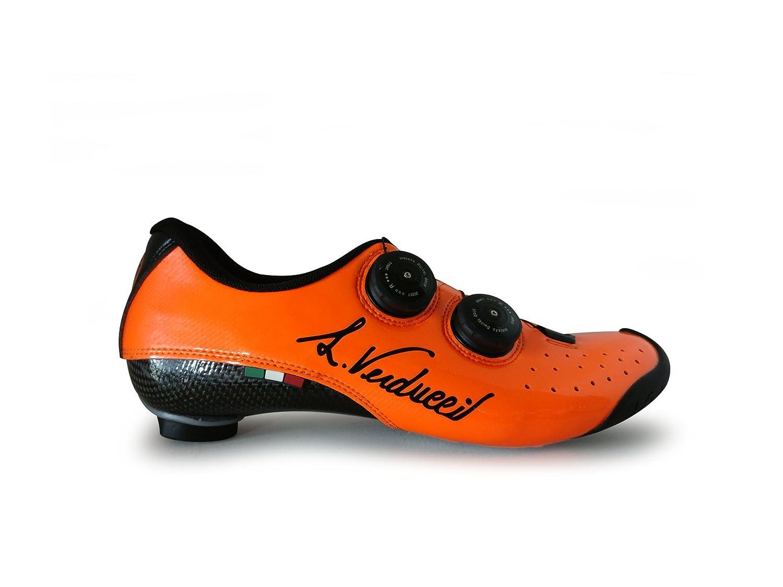 LUIGINO VERDUCCI VR-01 ロード クリップレス シューズ - シャイニー オレンジ B07G19Q1SV EU46