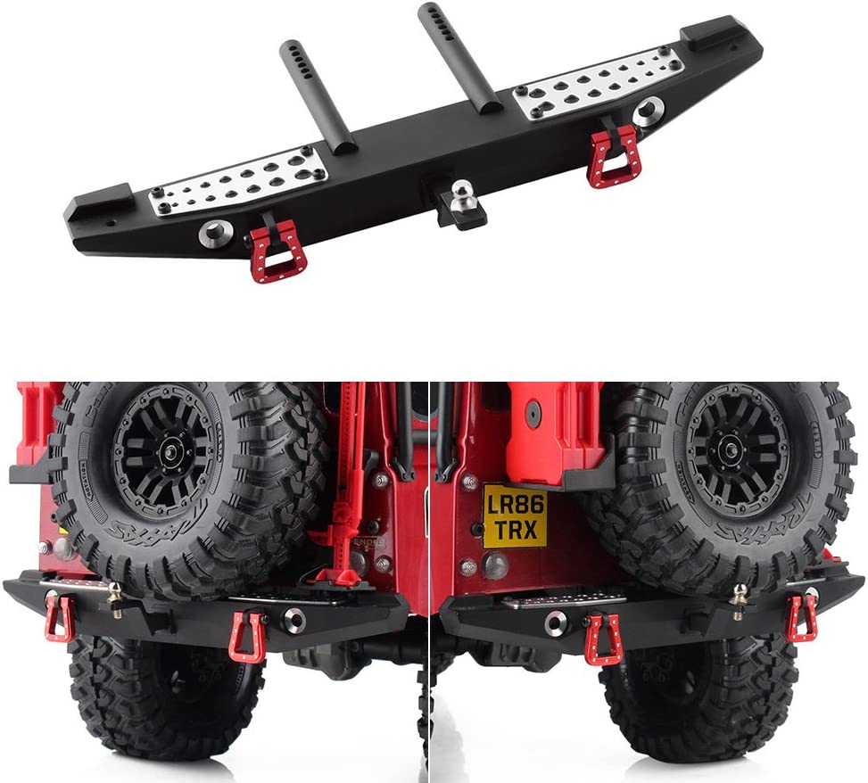 Crawler Rear Bumper RC Crawler Metal Rear Bumper with LED Lights Fits for Traxxas TRX-4 SCX10II 90046