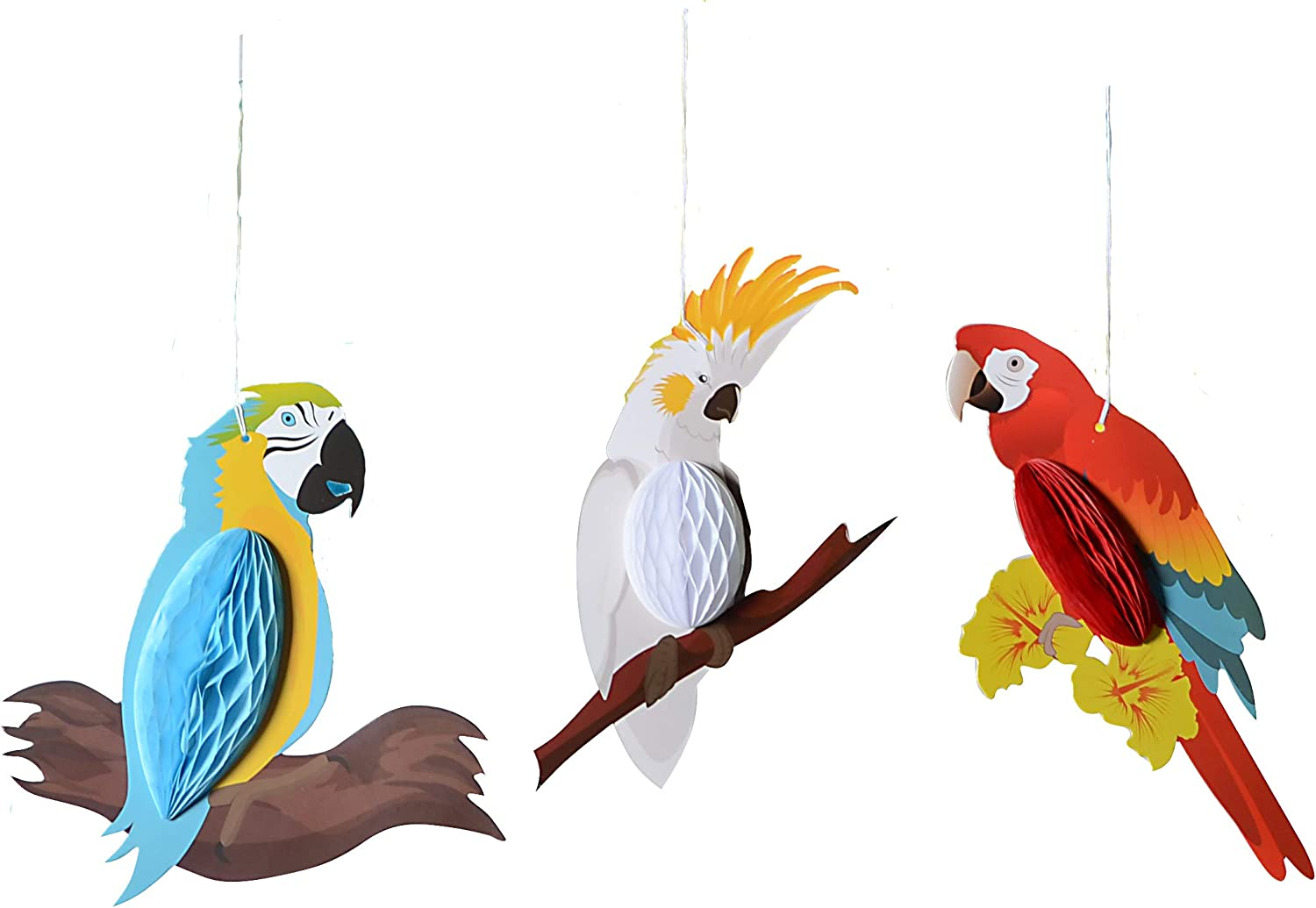 paper jazz Summer Luau Tiki Hawaiian Beach Tropical Party Parrot Tropical Birds Honeycomb Hanging Decorations Red White Blue(Parrot only)