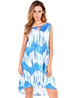 Meaneor Women's Boho Floral Print Hollow Out Sleeveless Casual Loose Dress