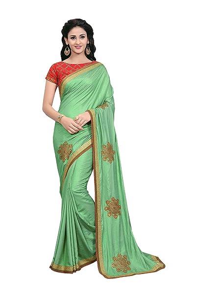 a5d0829fda12 Amazon.com: Indian Sarees for Women Wedding Designer Party wear Green Silk  Saree Sari in Green Silk Saree: Clothing