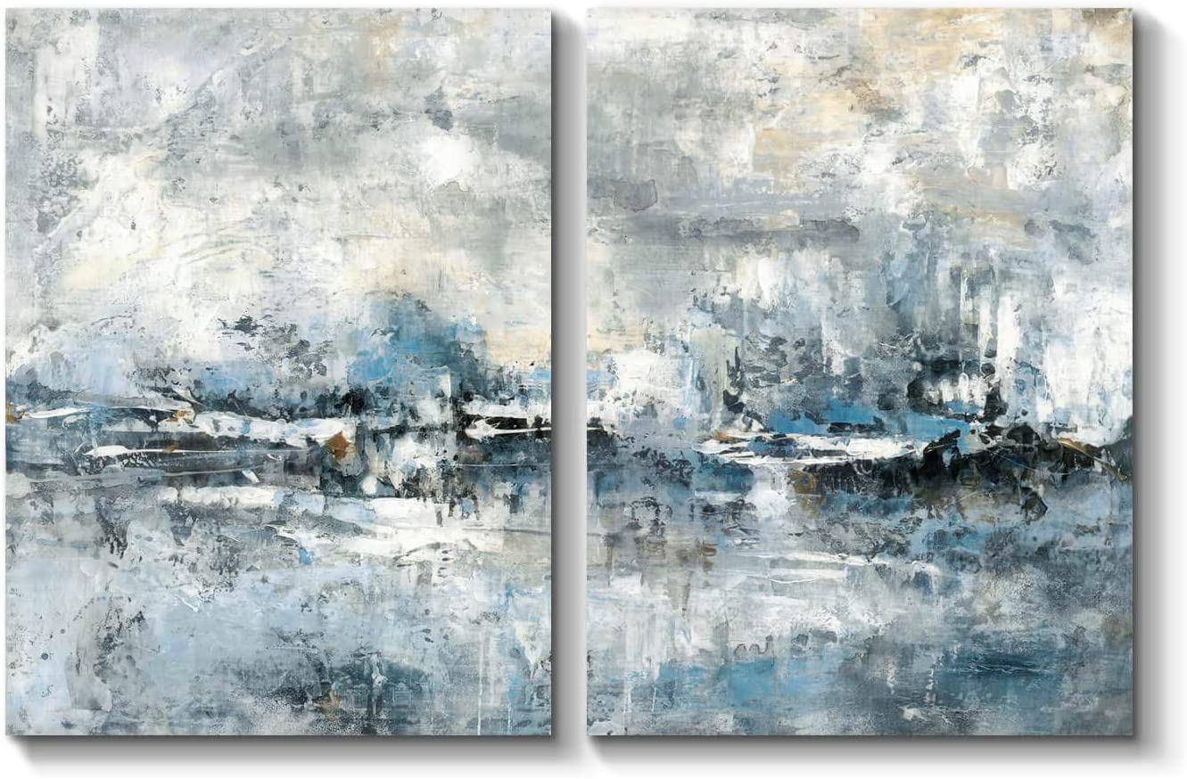 Abstract Canvas Artwork Wall Art: Abstract Picture Hand Painted Painting on Canvas for Office (24'' x 18'' x 2 Panels)