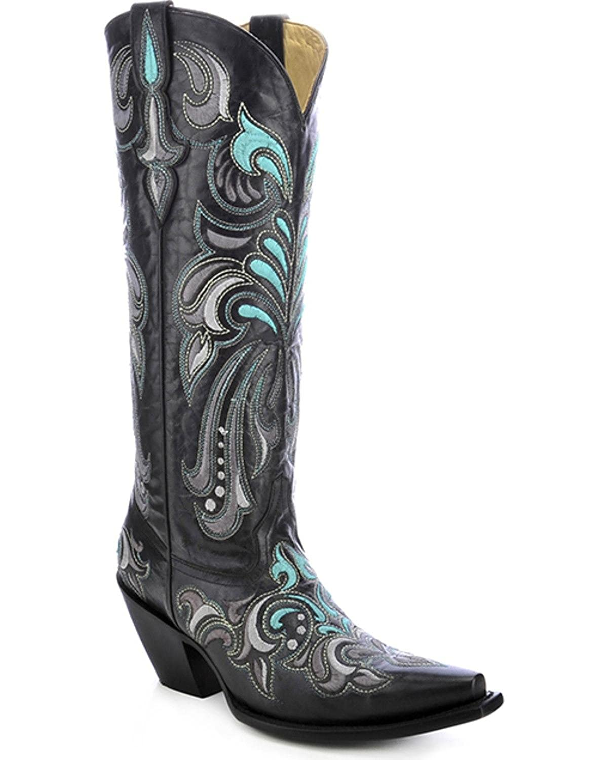 CORRAL Women's Embroidered Tall Cowgirl Boot Snip Toe - G1286 Black