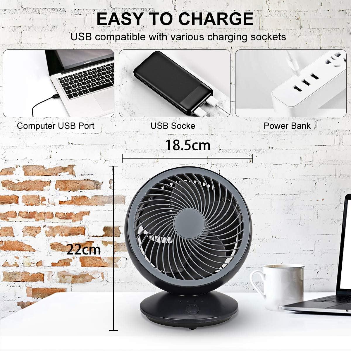 Ventilatore da tavolo silenzioso Mini ventilatore ad oscillazione automatica Ventilatore da tavolo Ventilatore USB piccolo 3 modalit/à 130 /° ruotabile per viaggi in ufficio