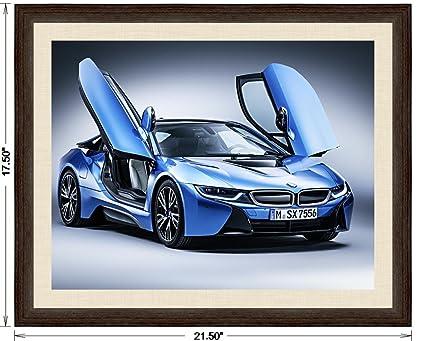 Amazon Com Bmw I8 Pure Impulse 2015 Framed Car Art Poster Print