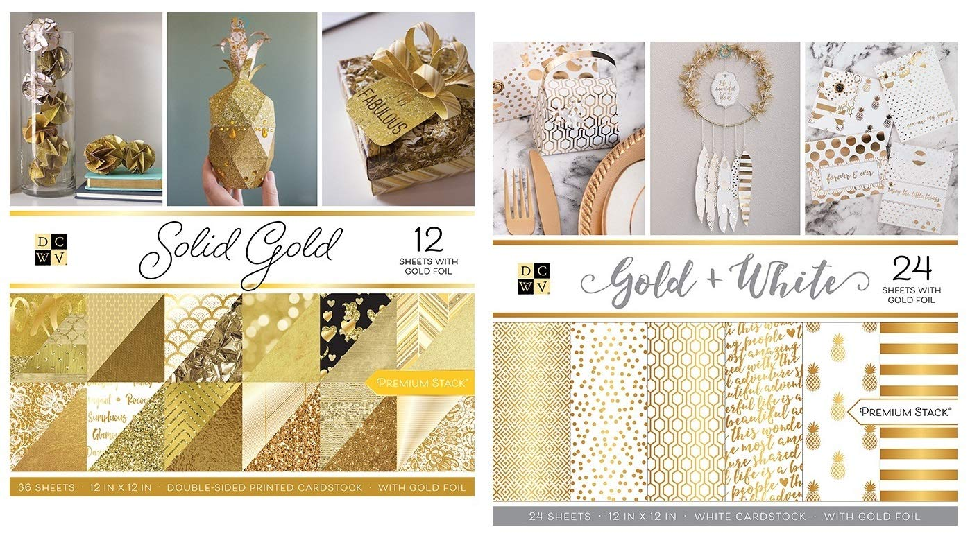 60 Sheets of 12x12 Inch Gold Cardstock Paper   Includes Metallic, Glitter, White, Shimmer Tones   Heavy Card Stock for Scrapbook, Origami, Cards, Invitations   Set of 2 Stacks by DCWV