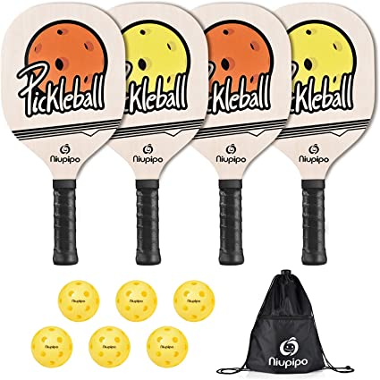 niupipo Wood Pickleball Paddles 4 Pack Wooden Pickleball Set with 1 Carry Bag a