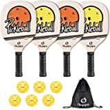 niupipo Wood Pickleball Paddles 4 Pack, Wooden Pickleball Set with 1 Carry Bag and 6 Balls, 7-ply Basswood, Pickleball Racket