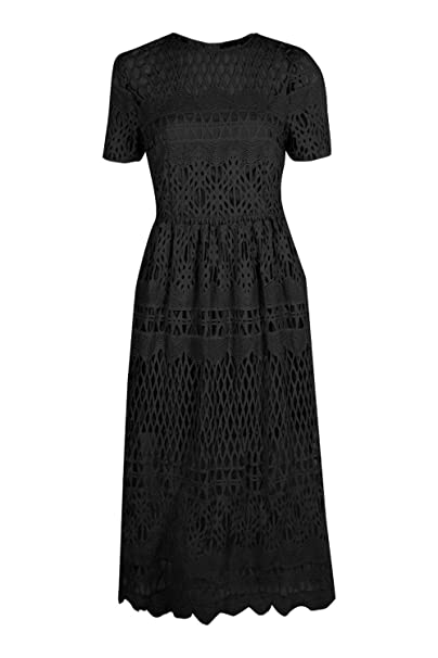 a6dbea2ddadb Boohoo Womens Boutique Vi Corded Lace Panelled Skater Dress in Black size 10