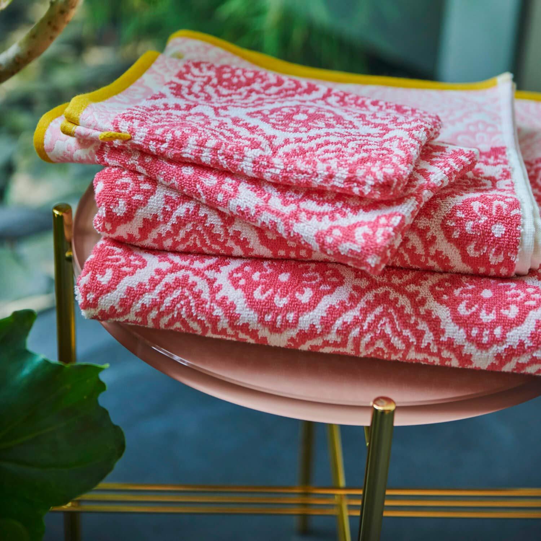 Pip studio set 1+1 asciugamano e ospite pip studio jacquard check rosa