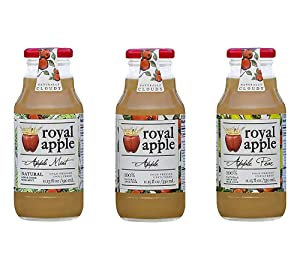 Royal Apple Pure Premium 100% Natural Juice, 3 Flavors Variety Pack, Apple, Apple Pear, Apple Mint | No Sugar Added, Non-GMO, No Preservatives, Healthy Kids Juice Drink, 11.15 fl oz (330mL), 6 Pack