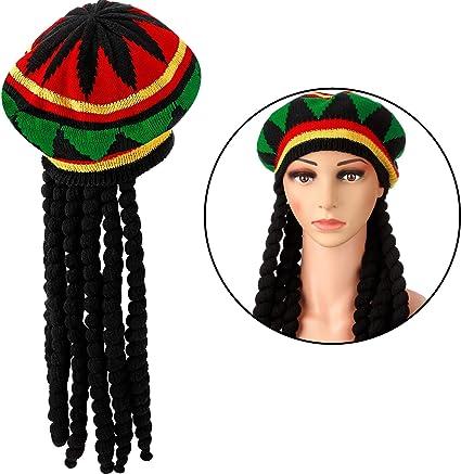 Fasching-Perücke Jamaika-Mütze mit Dreadlocks /& gelber Brille Perücke
