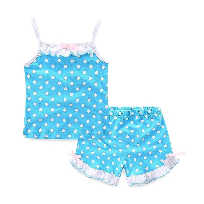 43602a2b Mud Kingdom Toddler Girls Clothes Sets Holiday Polka Dot Sun-Top and Shorts  2T Blue