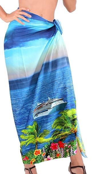 LA LEELA las Mujeres de Crucero de Playa Pareo Pareo Suave baño Bikini 78x42 Pulgadas Azul