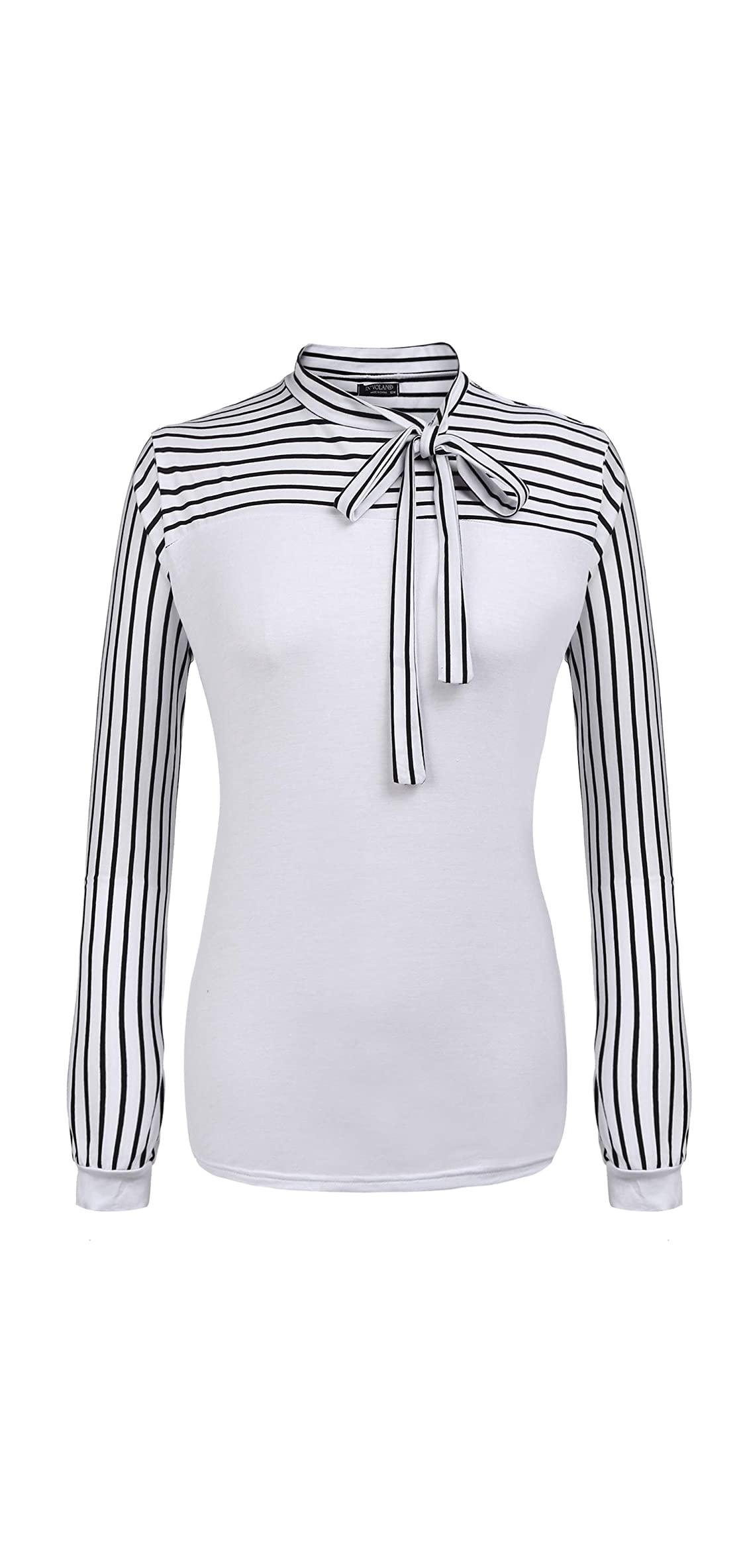 Plus Size Blouses For Women Tie-bow Neck Striped Blouse Long