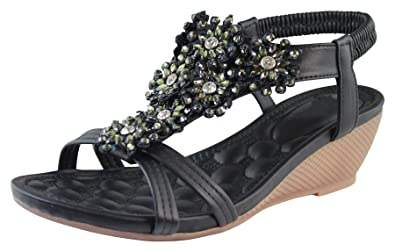 86f4f42a99a Larena Fashion New Womens Mid Wedge Heel Sandals Peep Toe Flower Strappy  Holiday Shoes Sizes