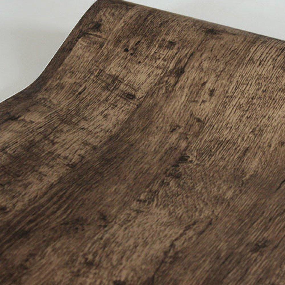 SimpleLife4U Retro Brown Wood Grain Contact Paper Self-Adhesive Shelf Drawer Liner Door Table Sticker 17.7 Inch by 9.8 Feet