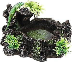 Yootop Resin Rock and Tree Designed Reptile Platform Food Bowl