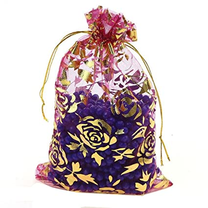c1e781ea1f94 Zhiheng 100pcs Organza Wedding Party Gift Bags Rose Pattern Sheer  Drawstring Pouches Jewelry Gift Bags Christmas Party Gift Favor Bags (rose,  6