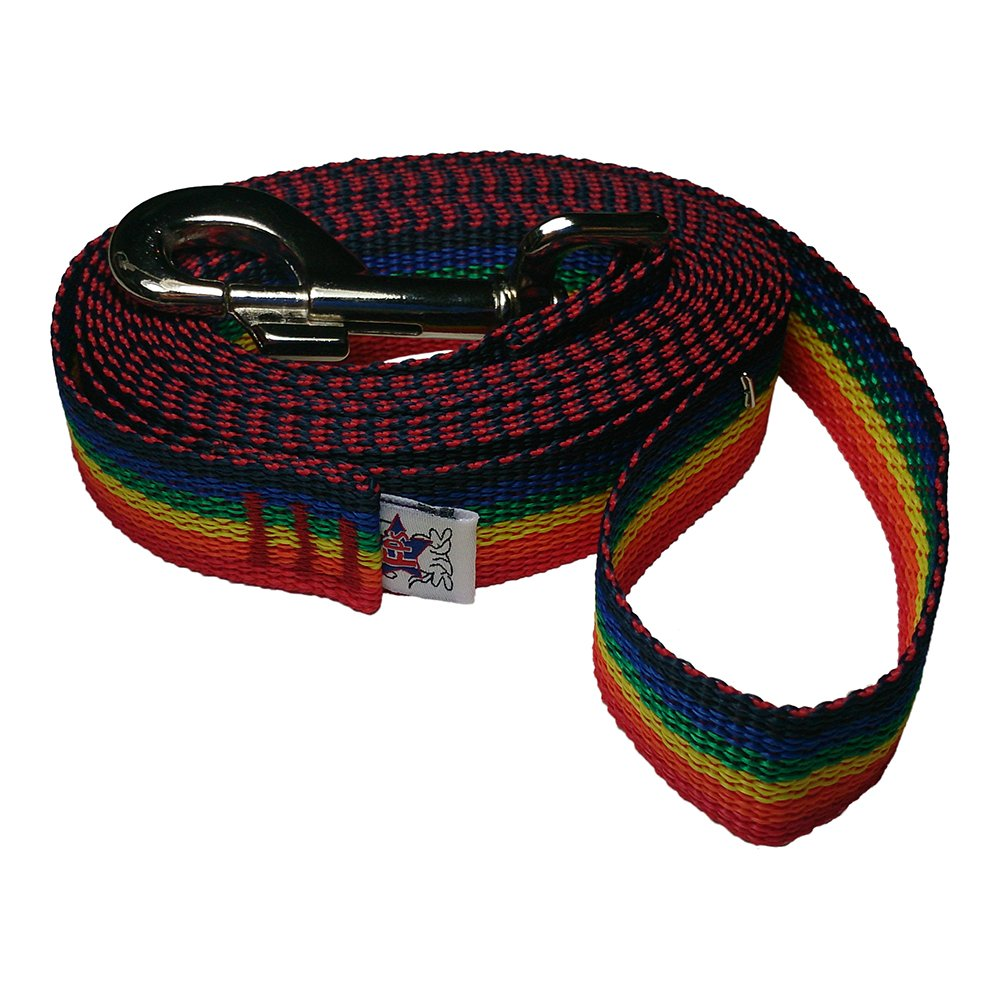 Rainbow Spectrum 40 FT Rainbow Spectrum 40 FT Freedom Pet 1 Inch Heavy Duty Polypropylene 5 10 15 20 25 30 40 50 Feet Dog Leash FPS-PP100 Select Your Length and color (Rainbow Spectrum, 40 FT)
