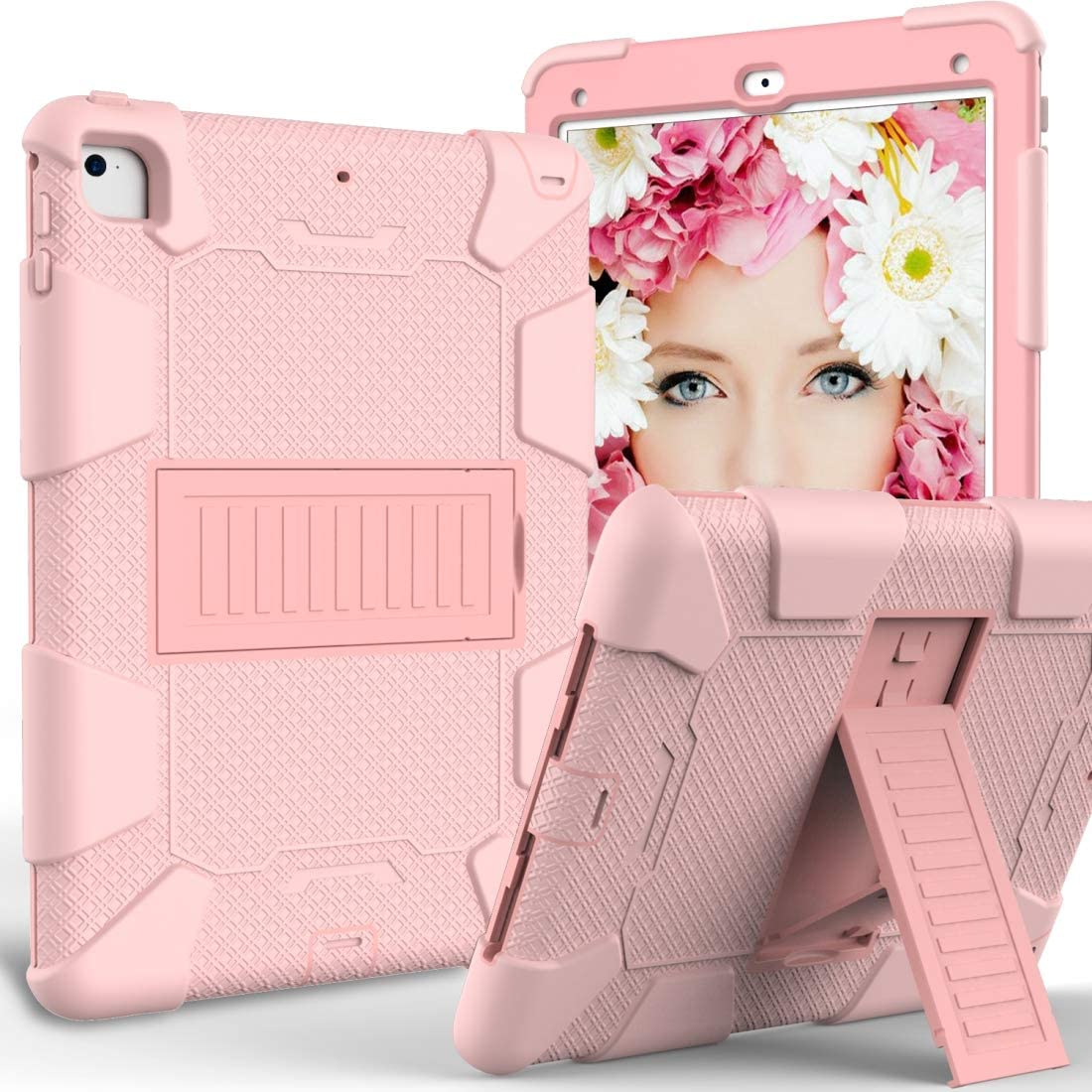 DESHENG Tablet Protective Clips Shockproof Two-Color Silicone Protection Shell for iPad 9.7(2018) & 9.7(2017) & Air 2, with Holder(Rose Gold) Tablet PC Bag (Color : Rose Gold)