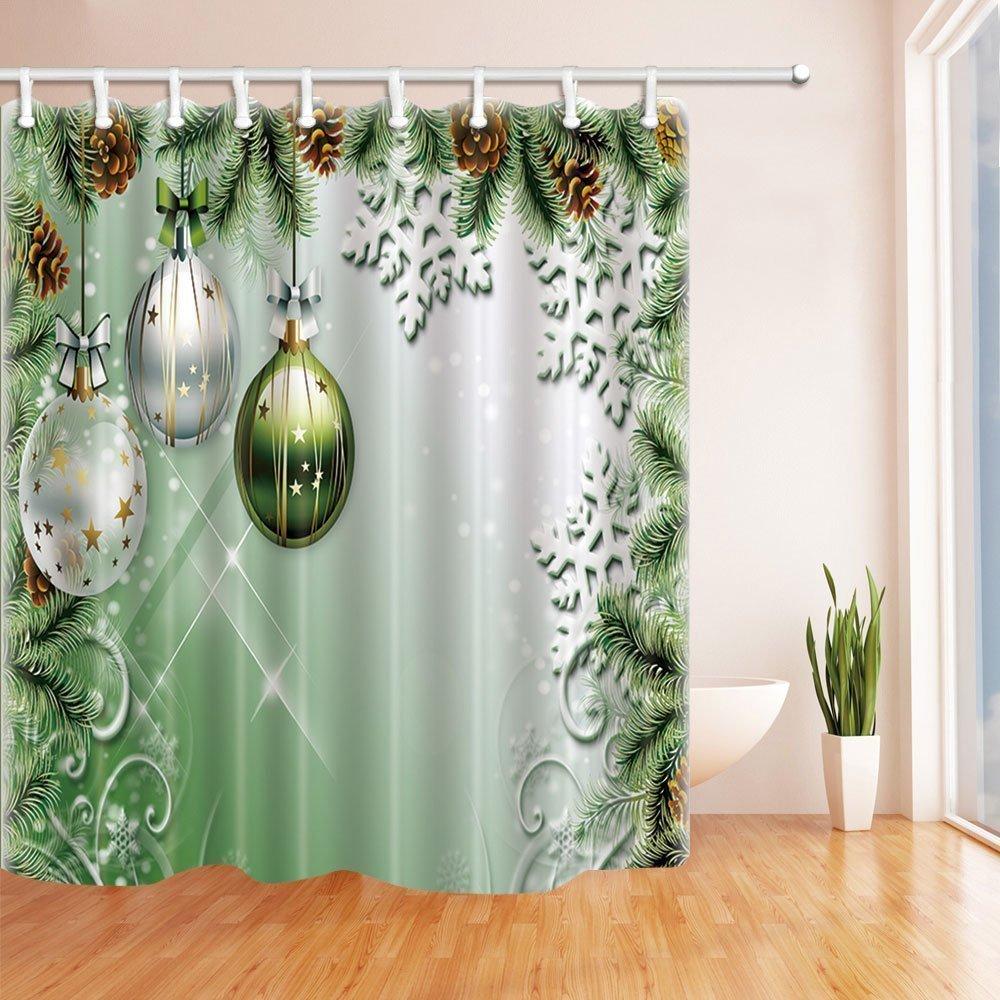 Weihnachtsduschvorhänge für Badezimmer-Weihnachtsbälle gebunden zum ...