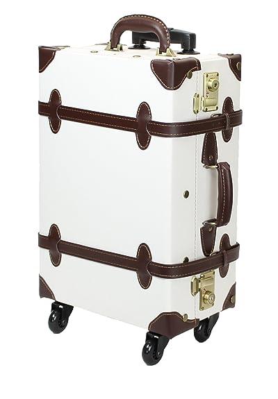 MOIERG Vintage Trolley Luggage suitcase 2tone TSA White Medium