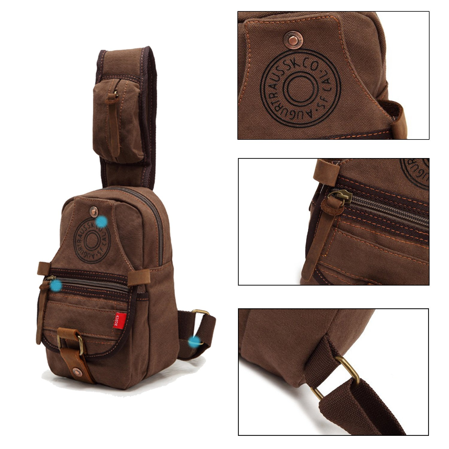 3874aa226a Amazon.com  Canvas Sling Bag Chest Shoulder mini Backpack for Women Men  girl small Daypack  Clothing