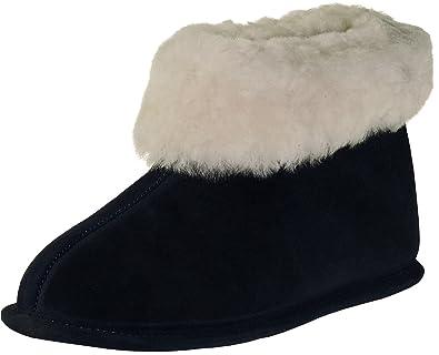 Extra dicke Pantoffeln aus Lammfell mit Ledersohle 2 Farben, Farben:marine, Schuhgröße:44