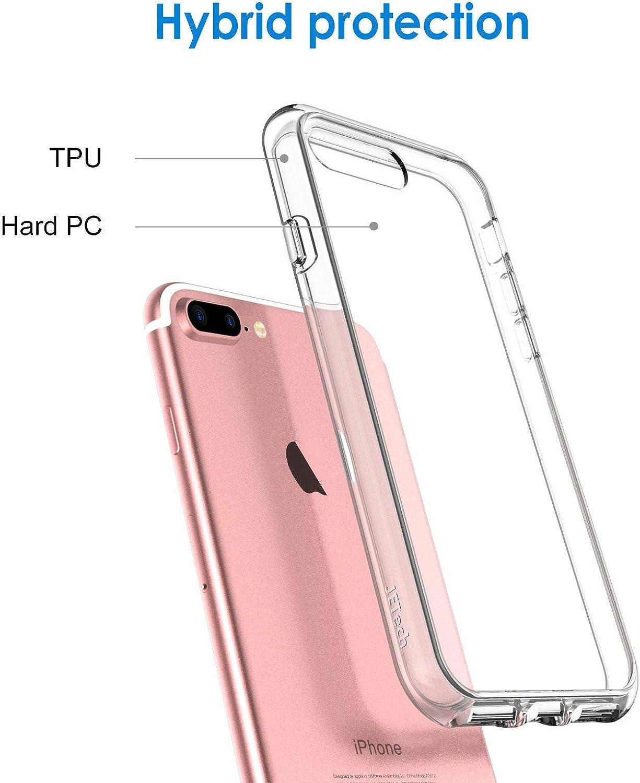 JETech Coque pour iPhone 8 Plus et iPhone 7 Plus - Absorption des chocs - Anti-rayures - Arrière transparent HD
