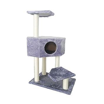 LuckyPet Escalador Gatos Rascador Gris Sisal Peluche Cama Relax Uñas Gatos - 97 x 60 x