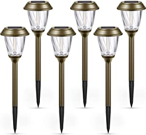 Solar Lights Pathway - Solar Path Lights Outdoor 6 Pack, 10-25LM, Bubble Glass Lampshade & Stainless Steel, Auto on/Off, Waterproof Solar Powered LED Pathway Lights for Landscape Garden (Warm White)