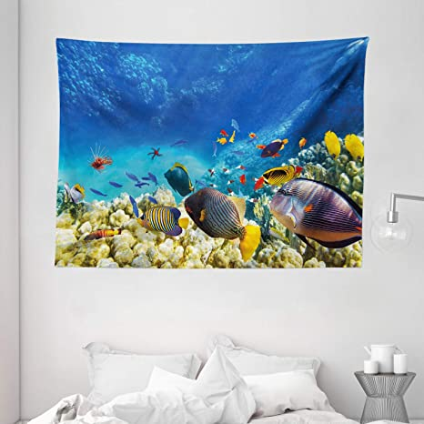 Amazon Com Ambesonne Ocean Decor Tapestry Fairy Underwater With Fish And Source Of Oxygen Coral Aquatic Liquid Culture Scenery Wall Hanging For Bedroom Living Room Dorm 80 X 60 Multi Home Kitchen