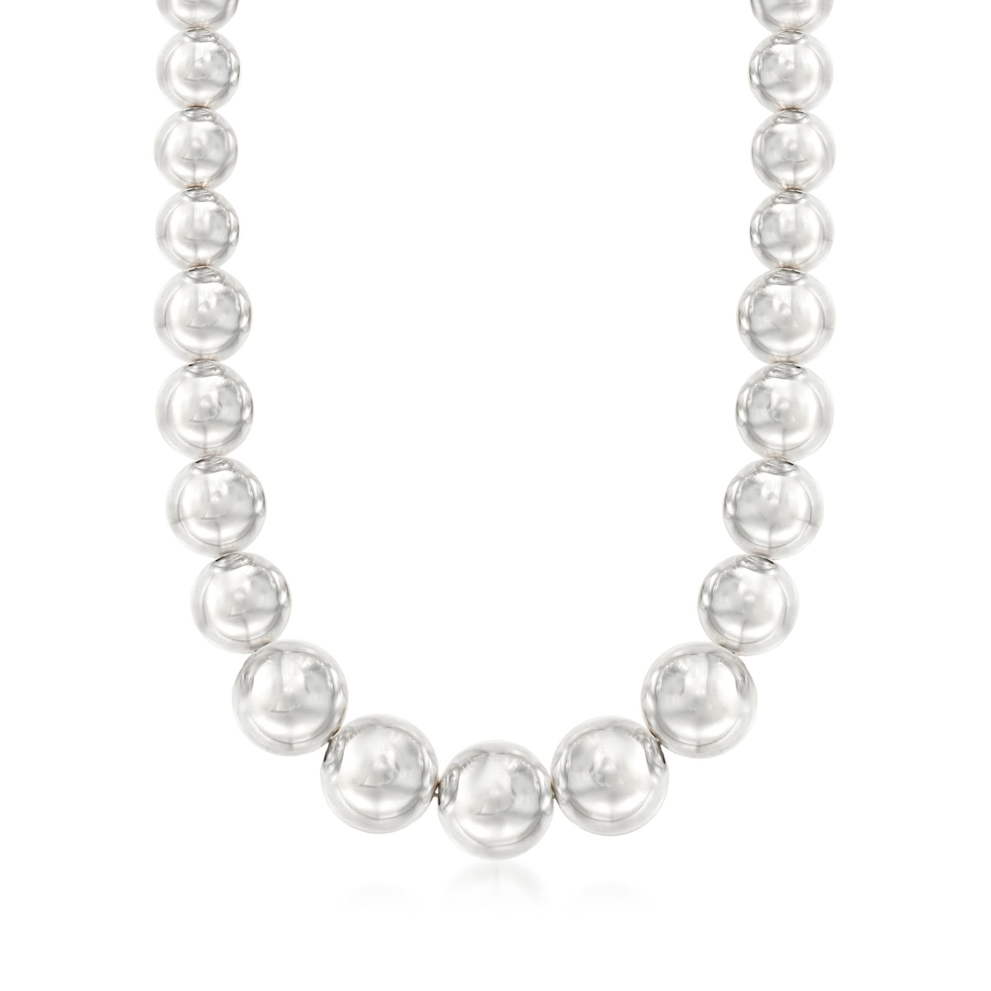 Ross-Simons Italian Andiamo Sterling Silver Graduated Bead Necklace