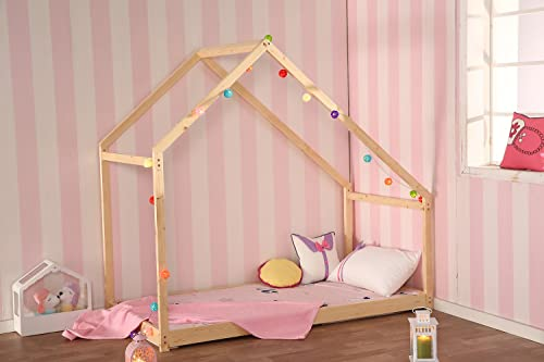 Bestmart INC Children Toddler Bed House Bed Frame Premium Wood Floor Bed Kids Tent Bed Play Tent