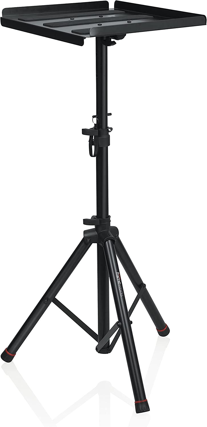 "Gator Frameworks Heavy Duty Deluxe Adjustable Multi-Media Gear Stand Featuring 100x100 Vesa Mounting Brackets | Ideal for Laptops and more; Min/Max Height - 36""/48"" (GFW-UTL-MEDIATRAY2)"