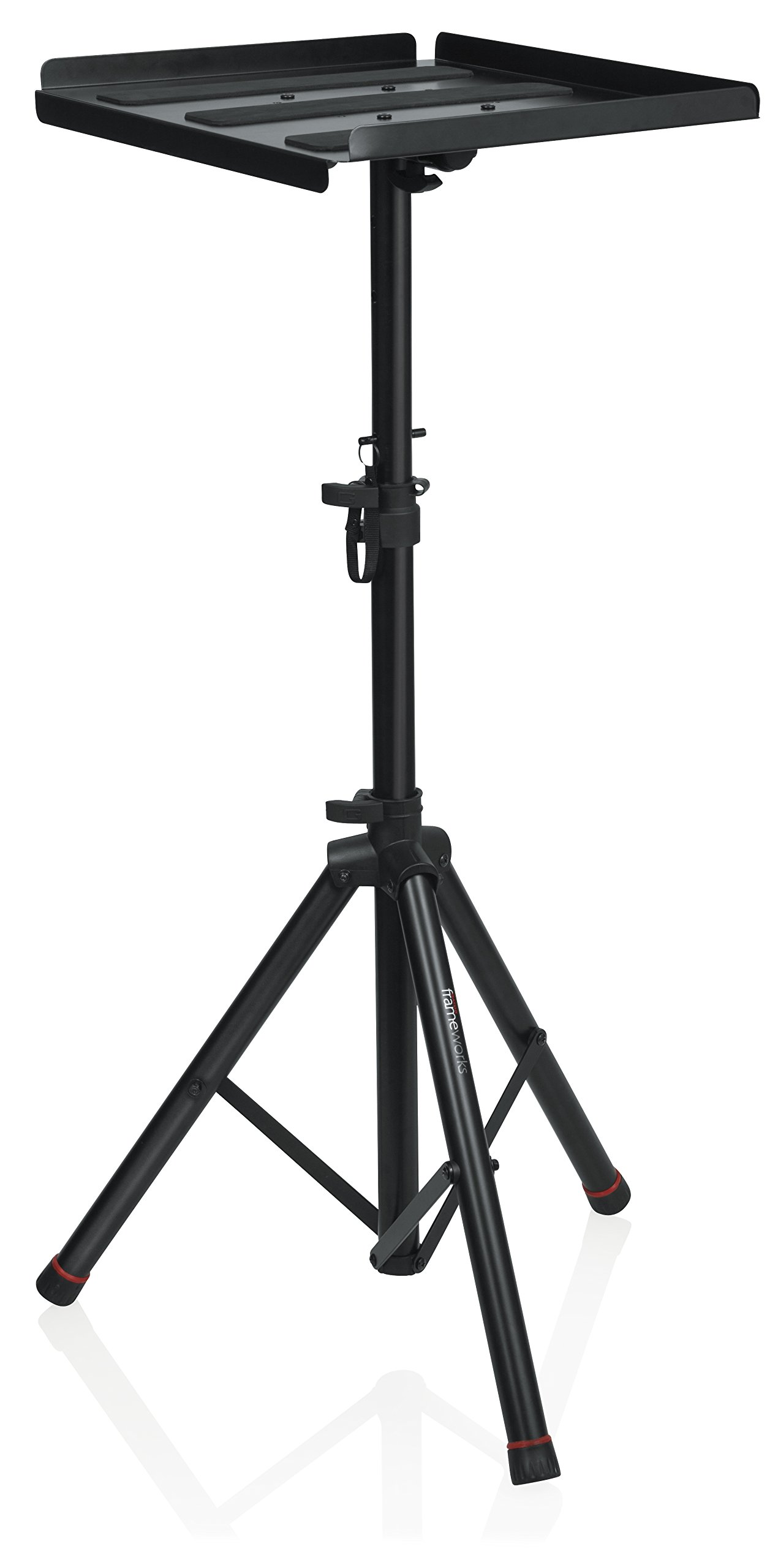 Gator Frameworks Heavy Duty Deluxe Adjustable Multi-Media Gear Stand Featuring 100x100 Vesa Mounting Brackets | Ideal for Laptops and more; Min/Max Height - 36''/48'' (GFW-UTL-MEDIATRAY2)