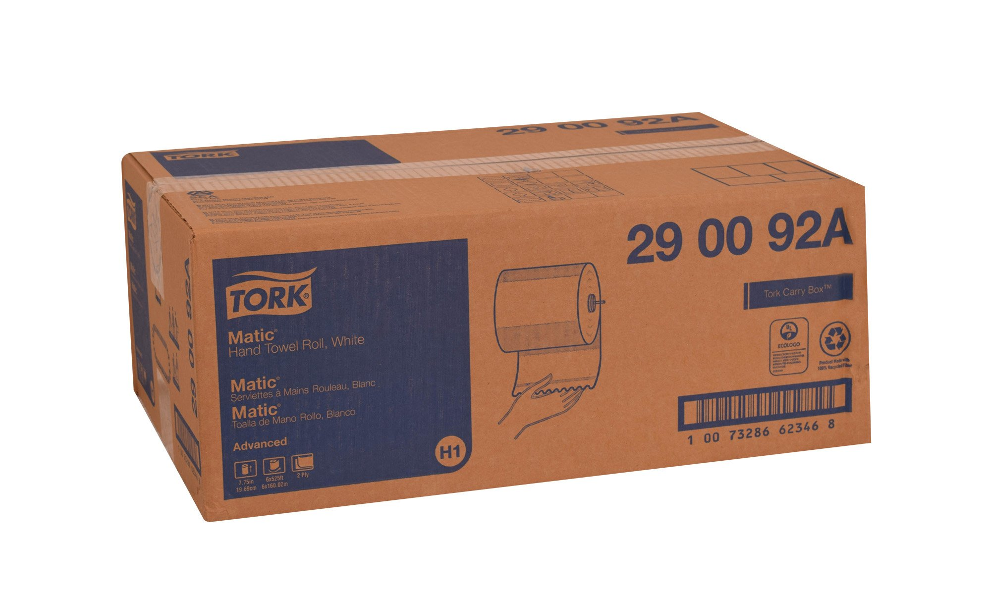 Tork 290092A Advanced Matic Paper Hand Towel Roll, 2-Ply, 7.7'' Width x 525' Length, White, (Case of 6 Rolls, 525 Feet per Roll, 3,150 Feet) by Tork (Image #9)