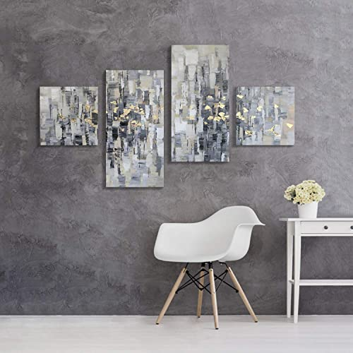 Artistic Path Abstract Canvas Picture Wall Art  Gray Artwork Gold Foil Painting