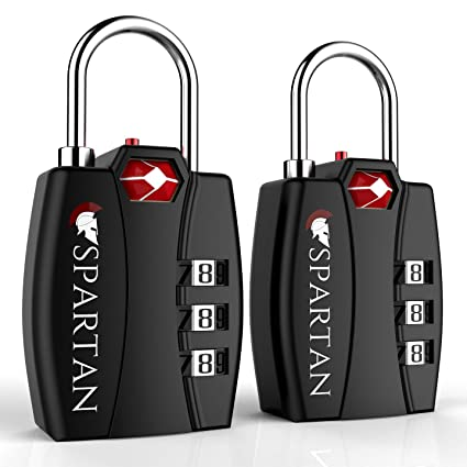 2dfb2c00980f Spartan Travel TSA Approved Locks Best Combination Security Padlocks for  Luggage Backpack Suitcase Pelican Case Briefcase Security Cable Filing ...