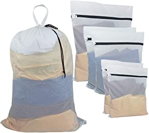 UniLiGis Mesh Laundry Bag with Handles (1 XXXL), Travel Storage Organize Bag, Lingerie Bags for Laundry with Zipper (1 XL & 2 L & 2 M)