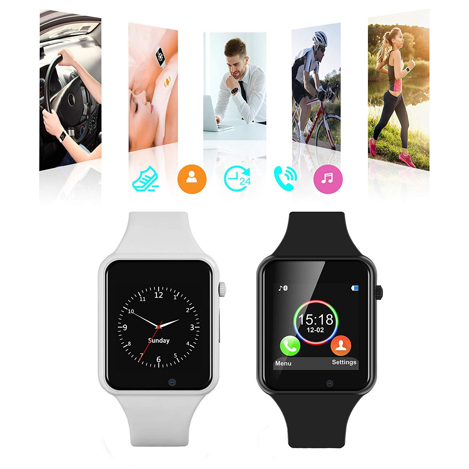 Smart Watches for Android, Doroim Bluetooth Smart Watches Unlocked Touch Screen with Anti-Lost, Camera,Sleep Monitor, SIM/TF Card Slot Compatible iOS, LG, Samsung Phones for Men Women Youth (Black)