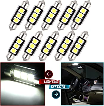 cciyu 2x White 6000K 31mm Festoon LED Bulbs 2835 8SMD Replacement fit for Dome Map Light Bulbs DE3175 3021 3022 Bulbs
