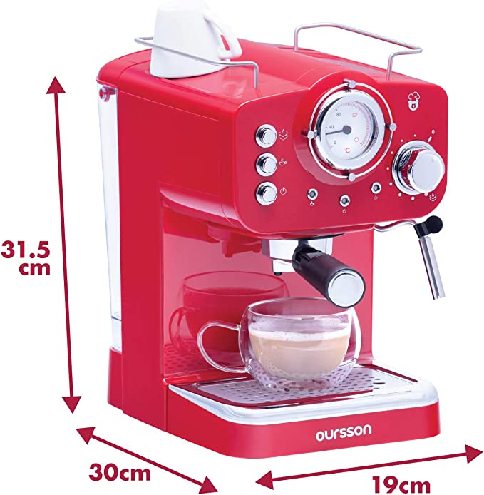 Oursson Cafetera Cappuccino y Café con 15 Bares de presión, 3 años de Garantia, Tanque de Agua de 1.5 litros, 900 Vatios, Rojo, EM1500/RD (Rojo): Amazon.es: Hogar