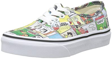 27d5e657d7a981 Vans Kids Authentic (Peanuts) Comics Black Tru Skate Shoe 1 Kids US