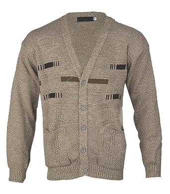 Mens Classic Button Front Cardigan Argyle Grandad Classic  S-5XL