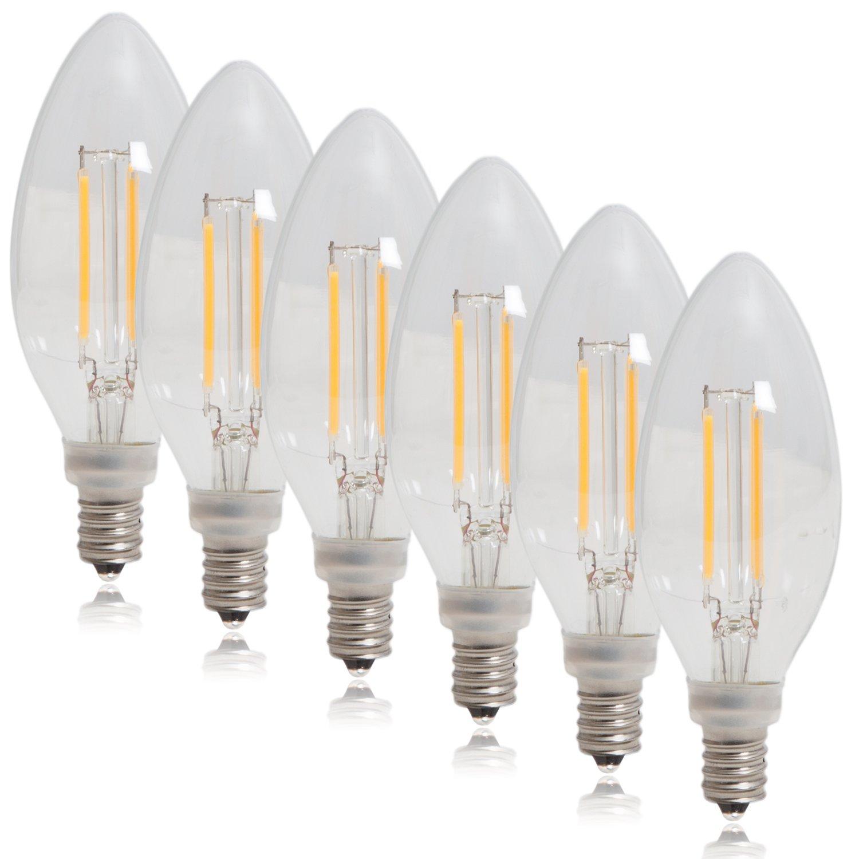 MLB-C12400W-06 Pack of 6 Maxxima Candelabra Clear Filament LED Candle Light Bulb 40 Watt Equivalent Warm White 2700K 350 Lumens 4 Watt