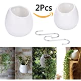 Supla 2 Pack Hanging Planter Wall Planter White Ceramic Round Pots Plant Containers Planter Holder Flower Pots Succulents Planter hanging plant pot with free s hook