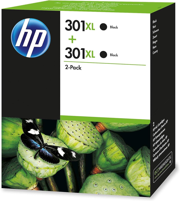 HP 301 D8J45AE Cartucho de tóner adecuado para DJ1050, Negro, Pack de 2 unidades: Hp: Amazon.es: Oficina y papelería